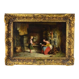 1872 Antique Richard Stanton Staunton Cahill Irish Genre Scene Oil Painting For Sale