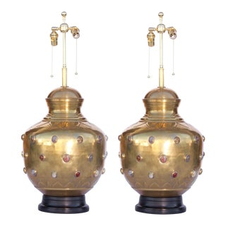 Large Brass With Jewels Table Lamps - a Pair For Sale