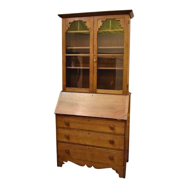 Antique 19th Century Drop Front Secretary Desk Bookcase Display Cabinet - Antique 19th Century Drop Front Secretary Desk Bookcase Display