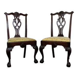 Pair of Chippendale Ball & Claw Mahogany Dining Chairs For Sale