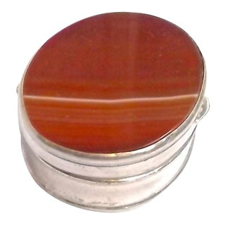Antique Handmade Agate & Silver Pill Box For Sale