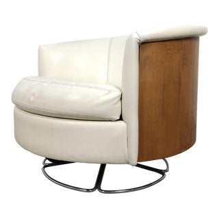 1960s Selig Walnut Barrel Back Swivel Chair