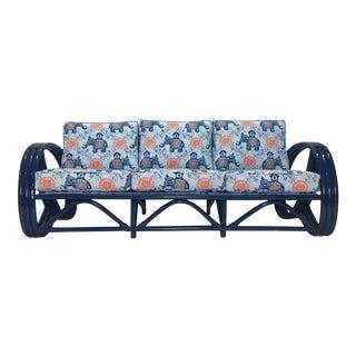 Vintage Navy Pretzel Rattan Sofa For Sale