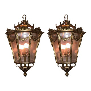 Pair of Antique Bronze and Glass Lanterns in the French Taste