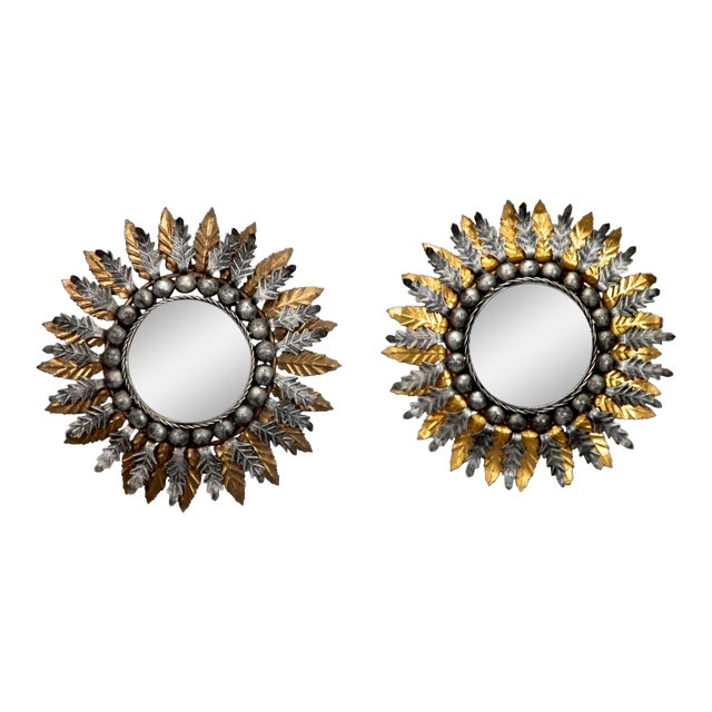 Spanish Gilt and Silver Metal Sunburst Mirrors - a Pair For Sale