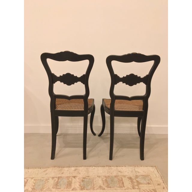 Black Pair of French Chinoisere Chairs For Sale - Image 8 of 10