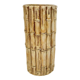 Vintage Mid-Century Asian Faux Bamboo Ceramic Vase For Sale