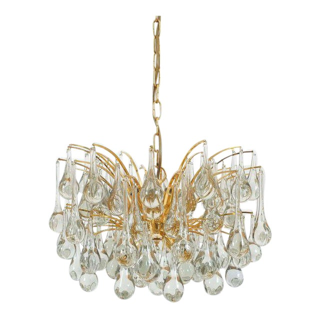 Delicate Murano Glass and gilded Brass Tear Drop Chandelier, 1970 For Sale