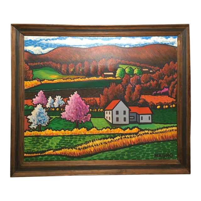 Late 20th Century Fall Landscape Oil on Canvas Painting For Sale