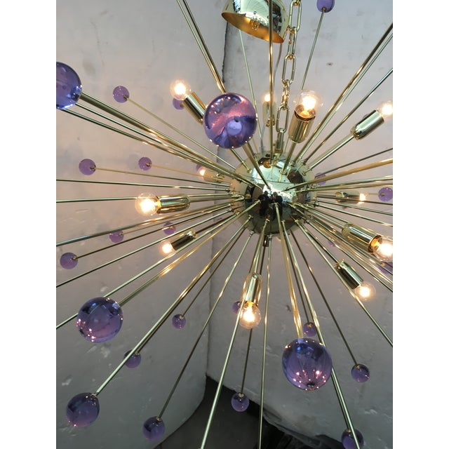 Metal Murano Glass Sputnik Metal Frame Gold Chandelier For Sale - Image 7 of 10