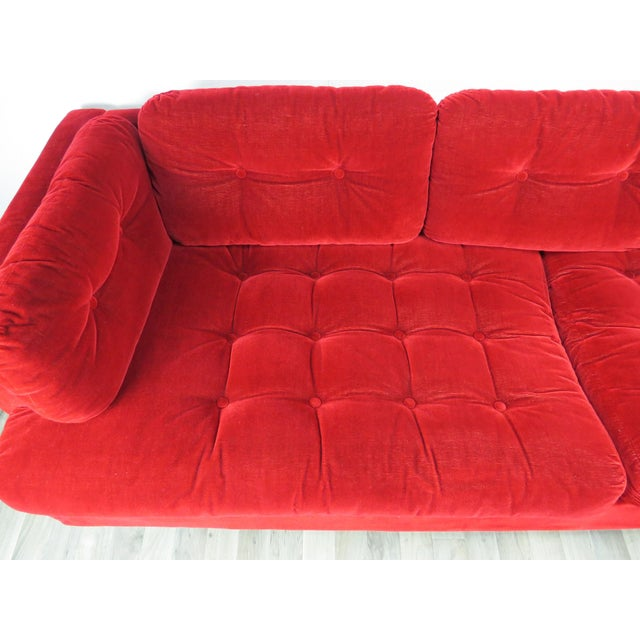 """1960s 1960s Mid-Century Modern Lipstick Red Button-Tufted """"Cord"""" Velvet Sofa For Sale - Image 5 of 13"""