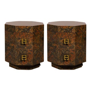 Exquisite Pair of Octagonal Faux Tortoise Shell End Table/Night Stands For Sale