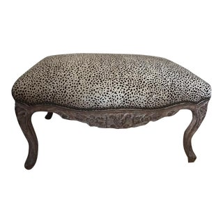 Contemporary Leopard Print Ottoman With Matching Pillows For Sale