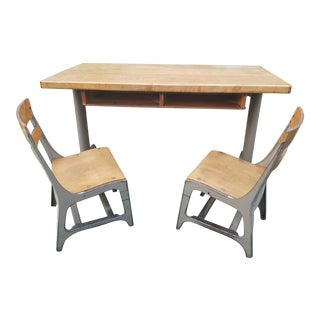 1950s Kids School Desk With Chairs For Sale