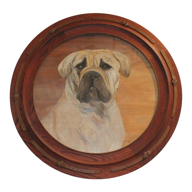 Monumental 19th Century Signed L. Stowe Oil Painting of Dog For Sale