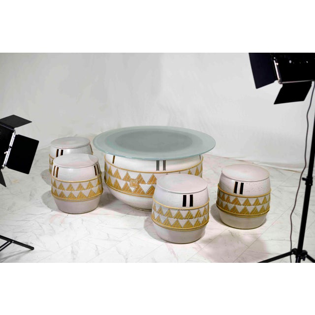 Chinoiserie Vintage Korean Ceramic Outdoor/Indoor Table With 4 Stools by Woon Bo Ceramic Lab Kim Ki-Chang For Sale - Image 3 of 13