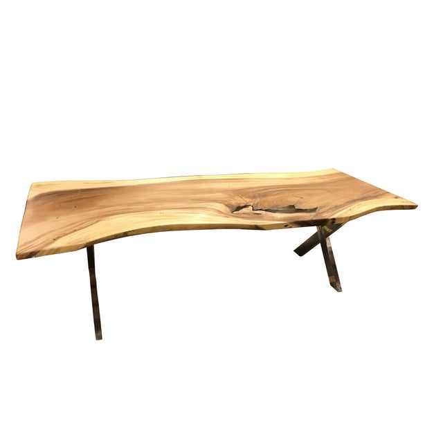 Live Edge Solid Slab Acacia Wood Dining Table - Image 6 of 11