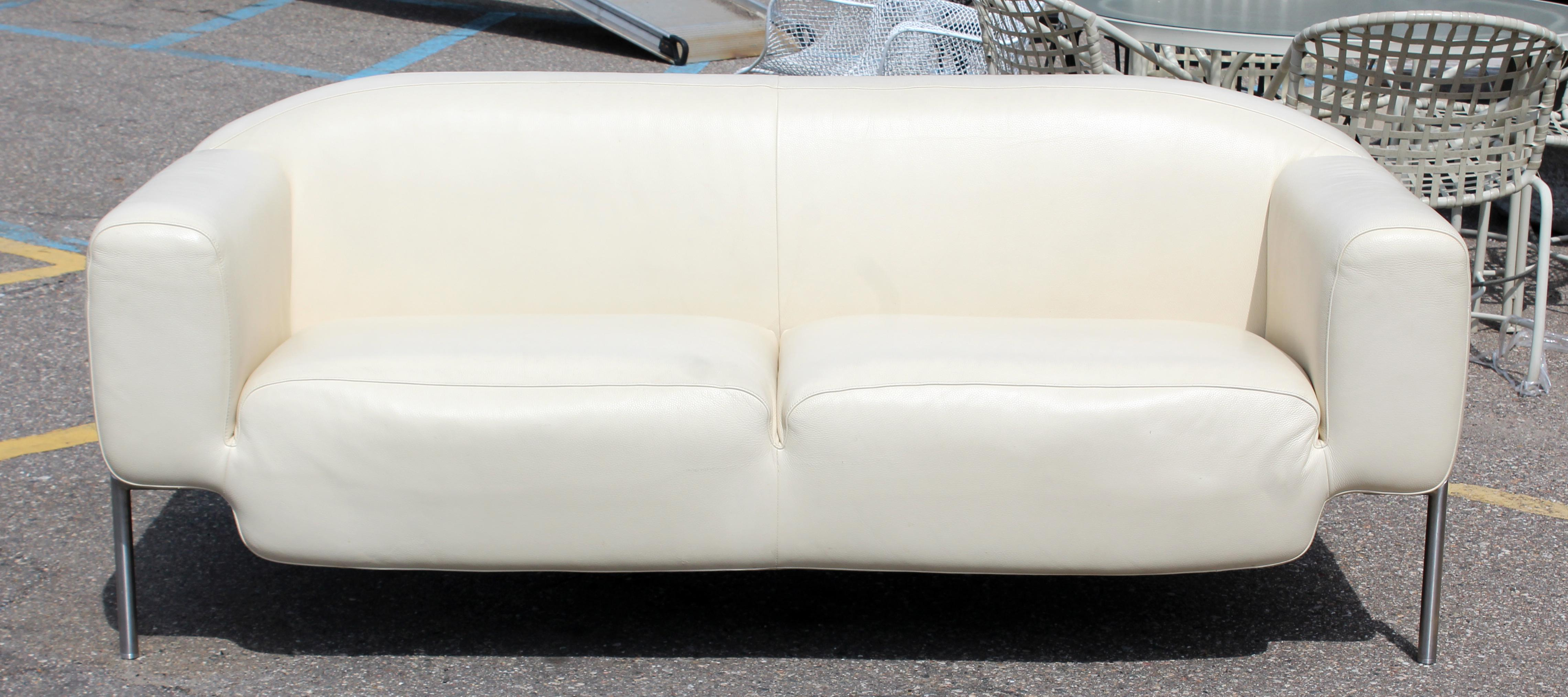 For Your Consideration Is A Fabulous, White Leather Sofa, On A Steel Frame.