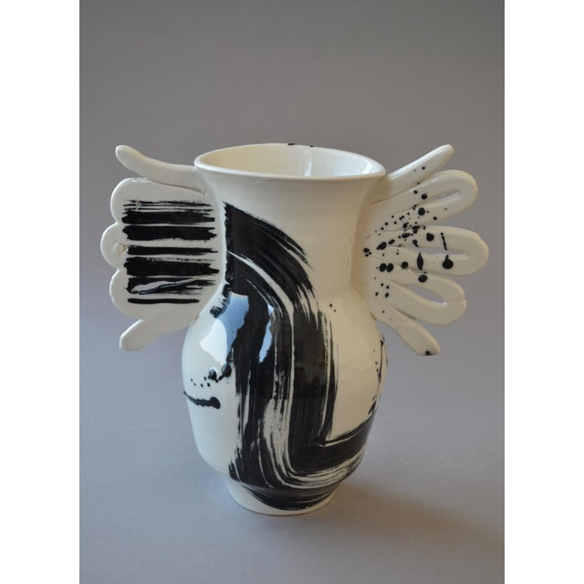 Contemporary Ceramic Butterfly Vase With Calligraphy For Sale - Image 4 of 4