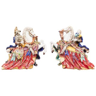 Italian Glazed Porcelain Figures - a Pair For Sale