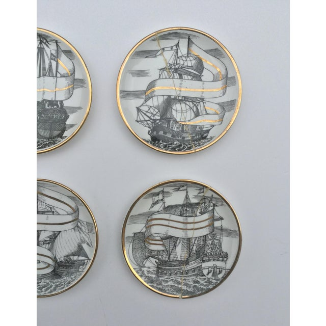 Piero Fornasetti Mid Century Italian Piero Fornasetti for Bonwit Teller Tall Ship Coasters - Set of 8 For Sale - Image 4 of 6