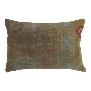 Tan Teal Green Blue Antique Chinese Rug Pillow For Sale