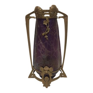 Art Nouveau Kralik Vase in Bronze Armature For Sale