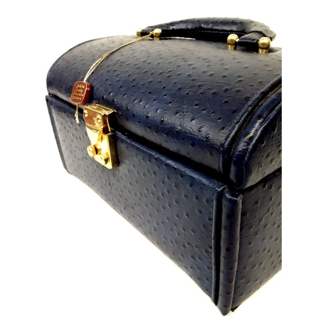 Vintage Ostrich Leather Jewelry Travel Case For Sale - Image 9 of 10