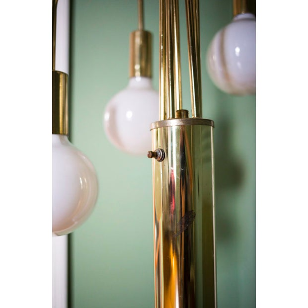 Mid-Century Modern Vintage Brass 5 Arm Floor Lamp For Sale - Image 3 of 5