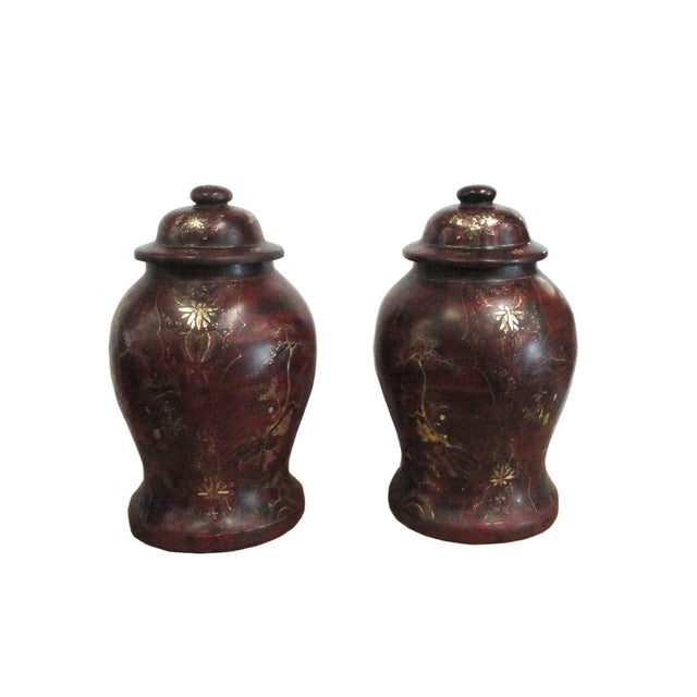 Brown Lacquer Godlen Scenery Jars - Pair - Image 3 of 6