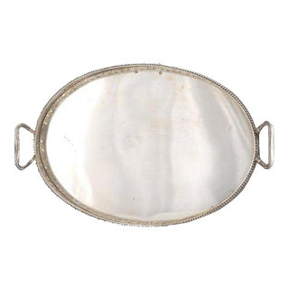 Austrian Empire .813 Silver Oval Double Handle Tray With Pierced Open Gallery For Sale