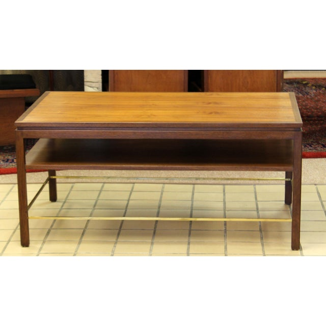 1950s Mid Century Modern Wormley Dunbar Walnut Brass Coffee Occasional Console Table For Sale - Image 5 of 13
