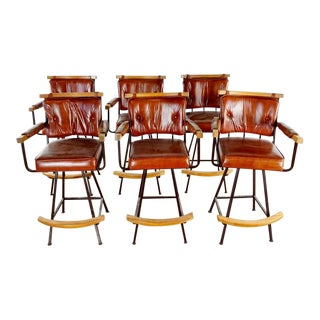 Modern Wood & Metal Bar Stools- Set of 6 For Sale