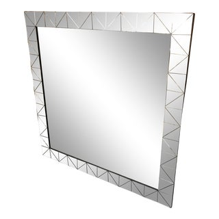 Silver Geometric Framed Wall Mirror For Sale
