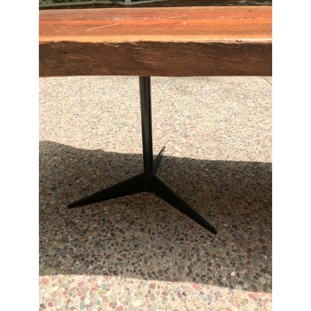 Free Flowing Wood Slab Black Metal Base Coffee Table For Sale - Image 4 of 5