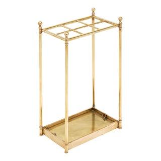 Art Deco Period Brass Umbrella Stand For Sale