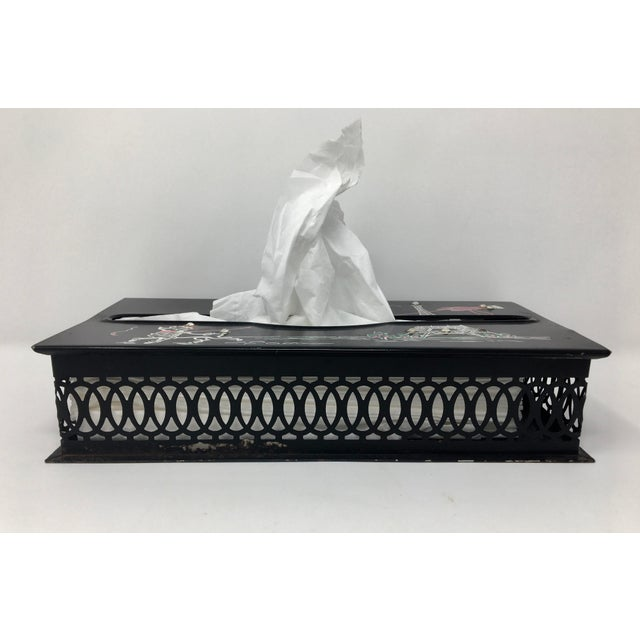 Shabby Chic Vintage Mid-Century Paris Scene Black and Pink Metal Tissue Holder For Sale - Image 3 of 10