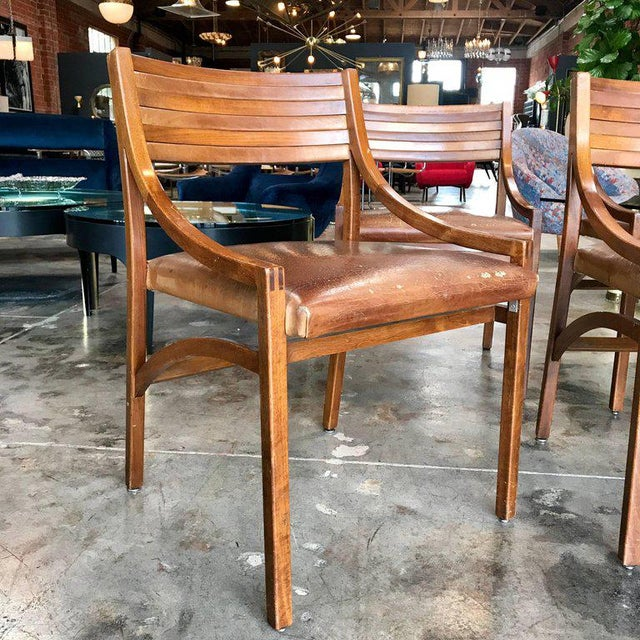Italian Ico Parisi Mod 110, Italian Walnut and Leather Dining Chairs 1959 For Sale - Image 3 of 9