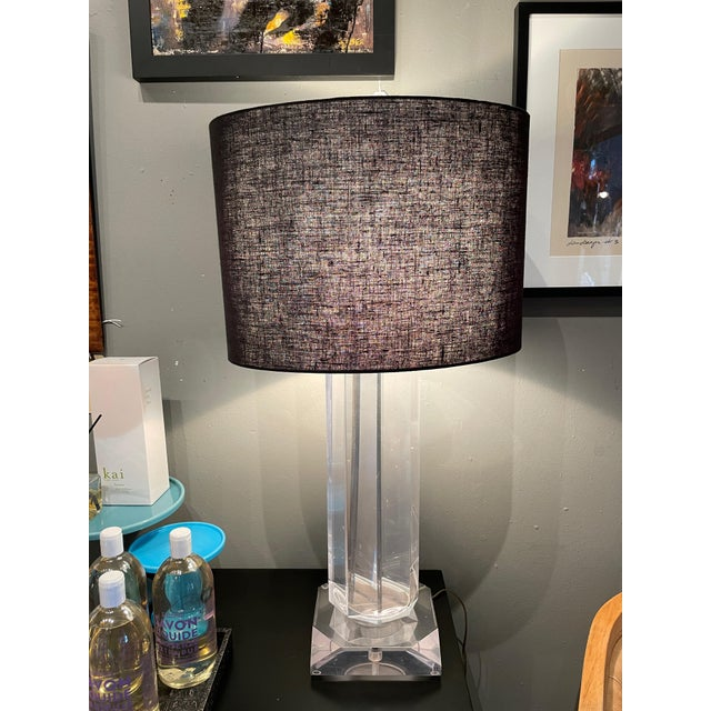 Vintage Mid-Century Modern lucite table lamp with black linen shade 3 way switch