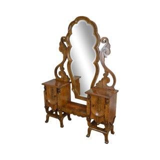 European Art Deco Antique Burl Wood Vanity With Mirror For Sale