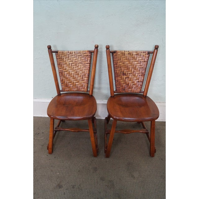 Old Hickory Signed Vintage Woven Splint Back Dining Chairs - Set of 4 For Sale In Philadelphia - Image 6 of 10