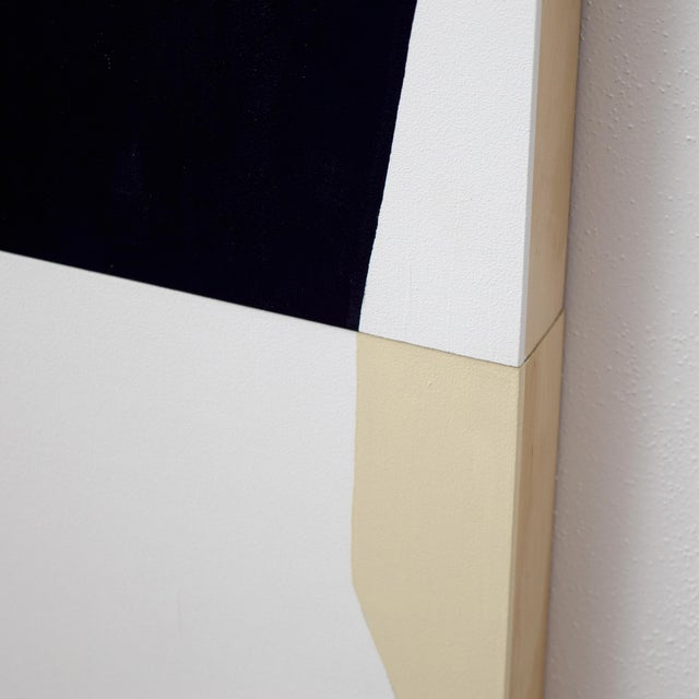 """Black, White and Tan Abstract Graphic Painting Title: """"The Horizon's Sharp Edge"""" Media: Acrylic and gouache on two wood..."""