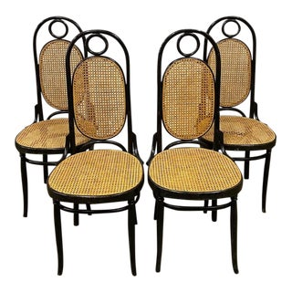 Mid-Century Thonet Bentwood Cane Dining Chairs - Set of 4 For Sale