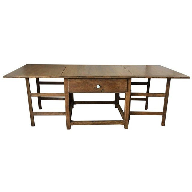 Spanish, 18th Century Drop-Leaf Table with Four Gate-Leg and Three Drawers For Sale - Image 9 of 9
