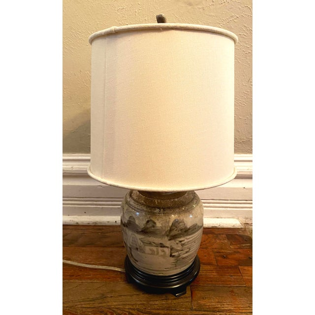 Glazed Chinese Sage Green Ginger Jar Table Lamp With Shade For Sale - Image 13 of 13
