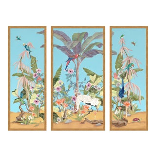 Palm Beach Paradise by Allison Cosmos, Set of 3, in Gold Framed Paper, Medium Art Print For Sale