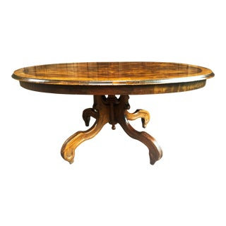 Traditional Oval Burled Walnut Veneer Coffee Table on Pedestal Base For Sale