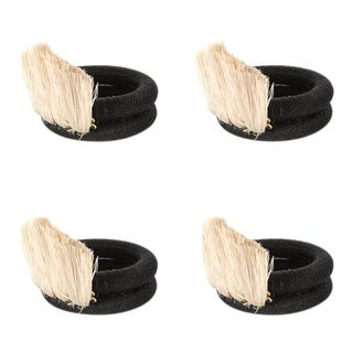 Fan Napkin Rings Black & Cream - Set of 4 For Sale