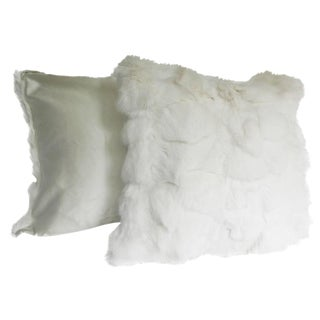 White Fox Pillows With Silk Lining - a Pair