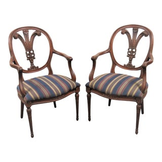 Louis XIV Mahogany Plume Back Chairs - a Pair For Sale